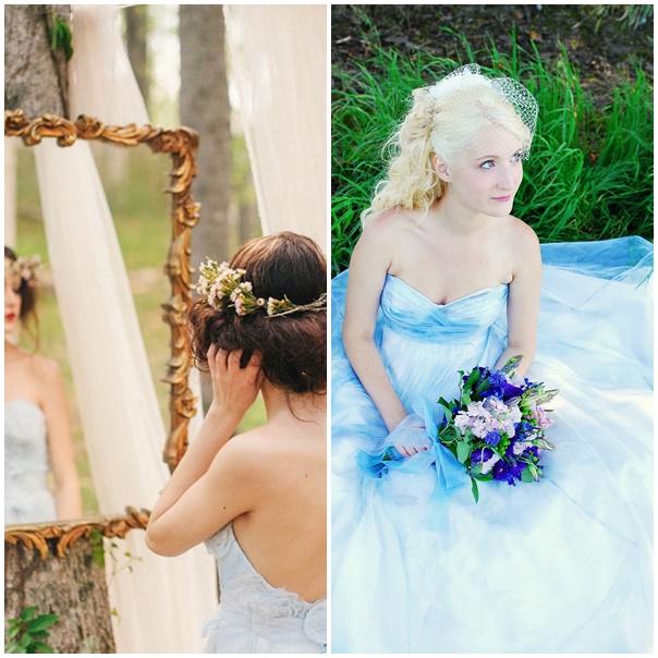 montage robe de mariee bleue