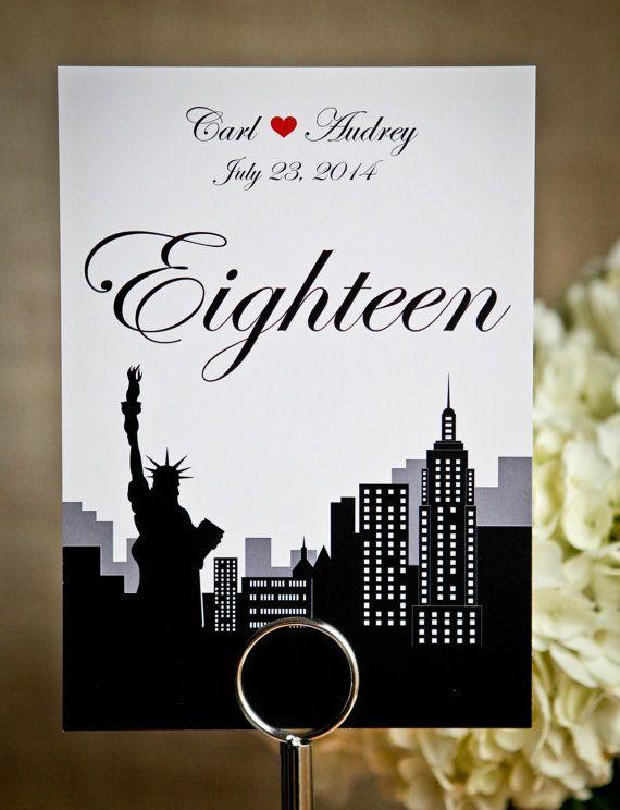 numero de table mariage sur le theme new york