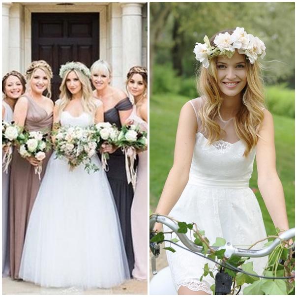 Ashley Tisdal, sortie tout droit de Disney Channel, nous a séduit grâce à sa couronne de fleurs.  Notre choix : La couronne de fleurs blanches de chez Marie Laporte (collection 2015).