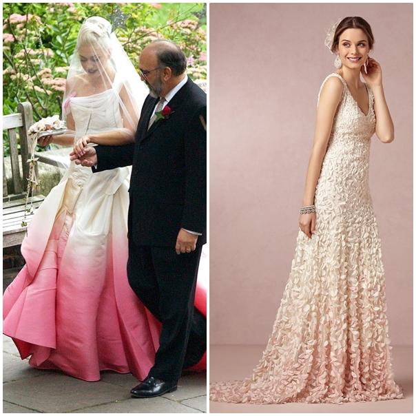 Gwen Stefani se démarque en choisissant une robe en tafta blanche dégradée rose. Notre choix : Le modèle Emma de chez Stéphanie Wolff dont on aime le dégradé délicat. (collection 2015)