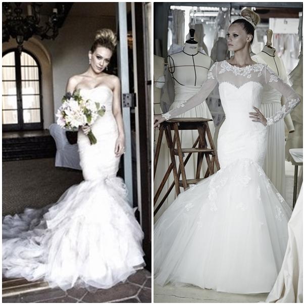 Hilary Duff, ancienne Lizzie Mc Guire, opte pour une robe sirène romantique et chic. Notre choix : Le modèle Indila de chez Cymbeline donc le bas de robe évasé lui donne un côté raffiné. (collection 2015)
