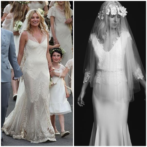 Kate Moss se la joue bohème avec une robe fluide en dentelle et strass. Elle parfait sa tenue à l'aide d'un très joli voile. Notre choix : Le voile bohème associé à la robe Jill de chez Rime Arodaky. (collection 2015)