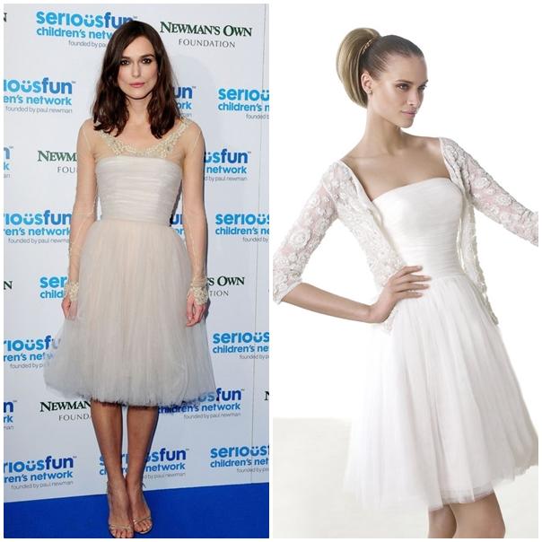 La jeune femme pirate préfère une robe blanche et courte tout en tulle, chic et raffinée. Notre choix : La robe Mia de chez Pronovias, en tulle et fluide, courte au niveau du genou.