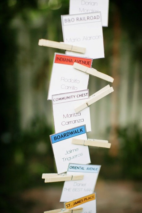 Et si vous utilisiez des cartes monopoly pour indiquer à vos invités quelle table leur est attriubuée.