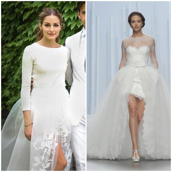 L'actrice et mannequin Olivia Palermo mise sur un jupon asymétrique et transparent pour plus d'originalité. Notre choix : Le modèle Duero de chez Rosa Clara donc la jupe courte est recouverte en partie par un jupon en tulle.