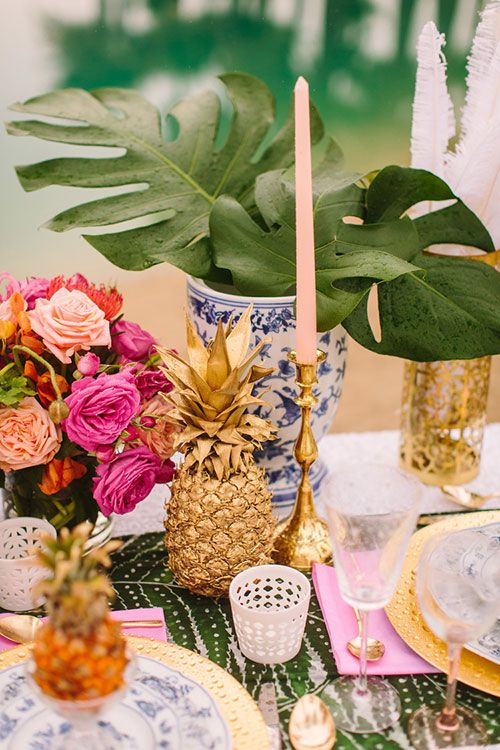 decoration de table mariage ananas