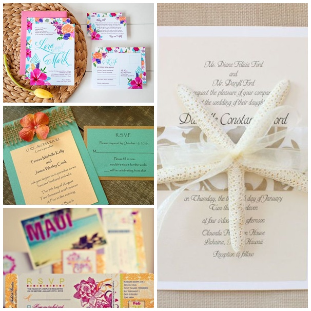 montage photo invitations mariage hawai