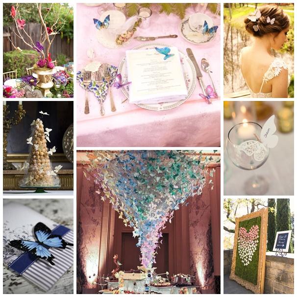 montage photos mariage theme papillons