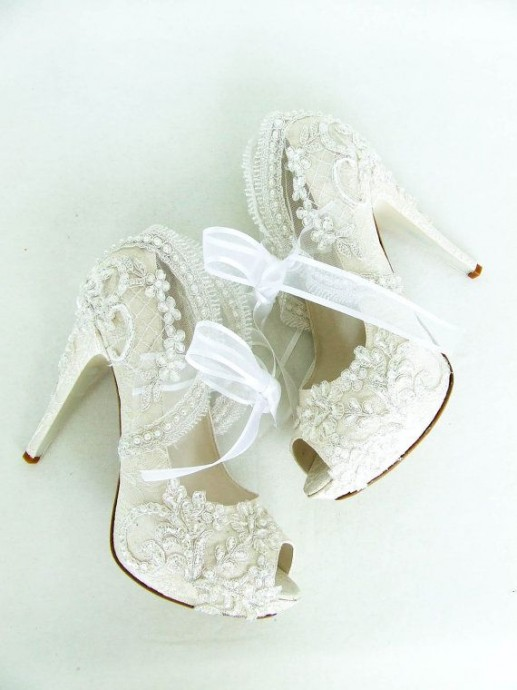 Dentelle chaussures mariage Downton Abbey