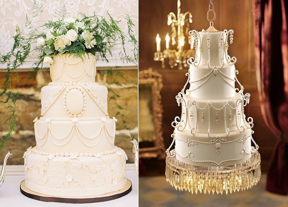 Downton Abbey wedding cake by La Cakerie with photo by Kimberly Brooke left and from Tortas Paso a Paso right