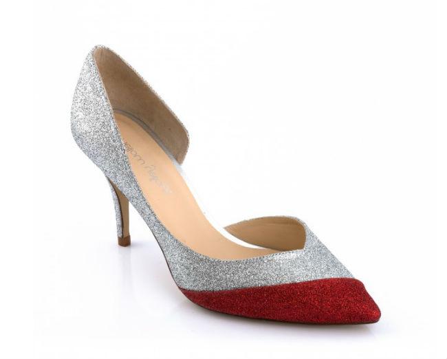 Voilà une autre paire d'escarpins asymétriques, de 8,5 cm de hauteur pour leur part. Cette découpe moderne fait une belle courbe au pied. Mais la vraie originalité de la chaussure, c'est son liseré de paillettes rouges au bout pointu, qui vient contraster avec les strass argentés du reste du soulier. On adore ! Cette petite touche de couleur, il fallait y penser ! Si votre robe de mariée comporte un détail de couleur rouge, comme une ceinture, une broche ou une fleur, l'alliance sera par-faite ! Escarpins « Seducir rouge », Mellow Yellow, 149 euros.