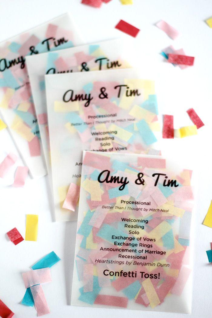 invitation mariage confettis