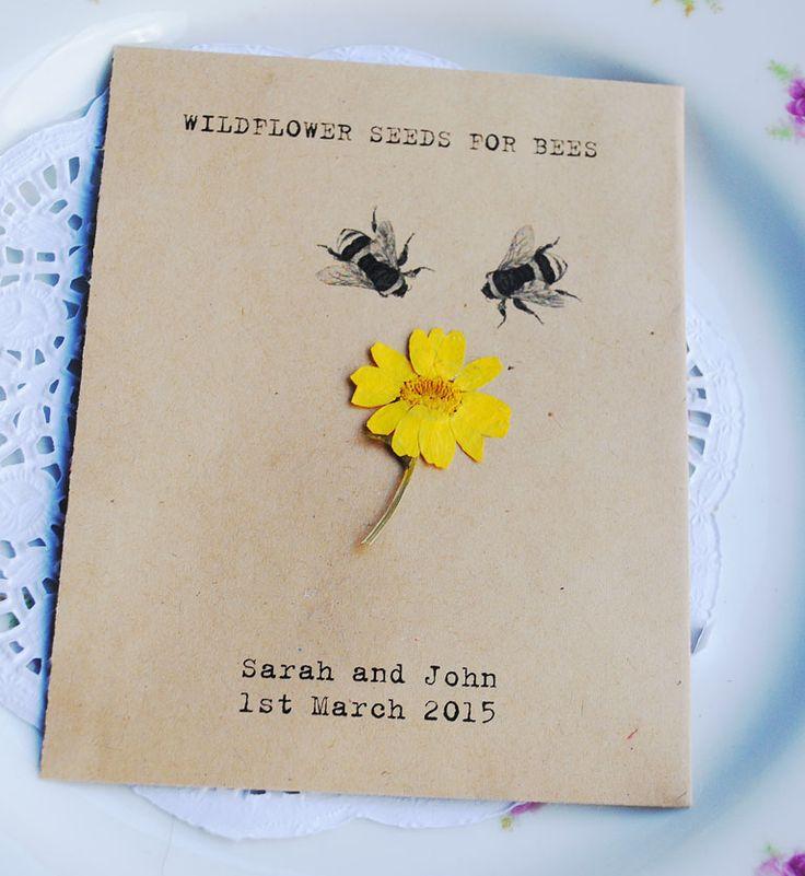 invitation mariage fleurs et abeille