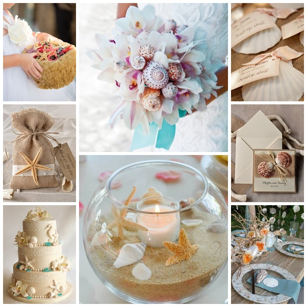 montage photos mariage theme coquillages