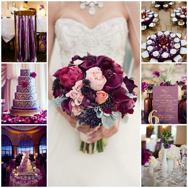 montage photos mariage violet gold
