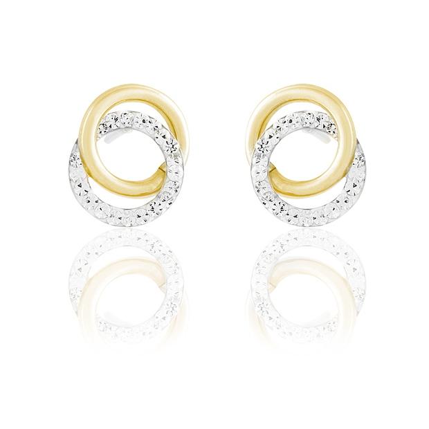 Ces puces d'oreilles ne sont-elles pas parfaites pour un mariage ? Les deux anneaux entrelacés seront chargés de symbolisme pour votre grand jour. De plus, l'or jaune ensoleillera votre look,  et les strass du deuxième anneau apportera sa touche chic.  Boucles d'oreilles or jaune et strass 65 €