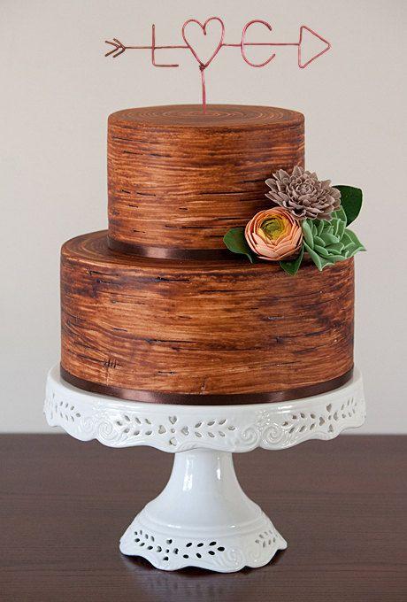 wedding cake mariage wood chic