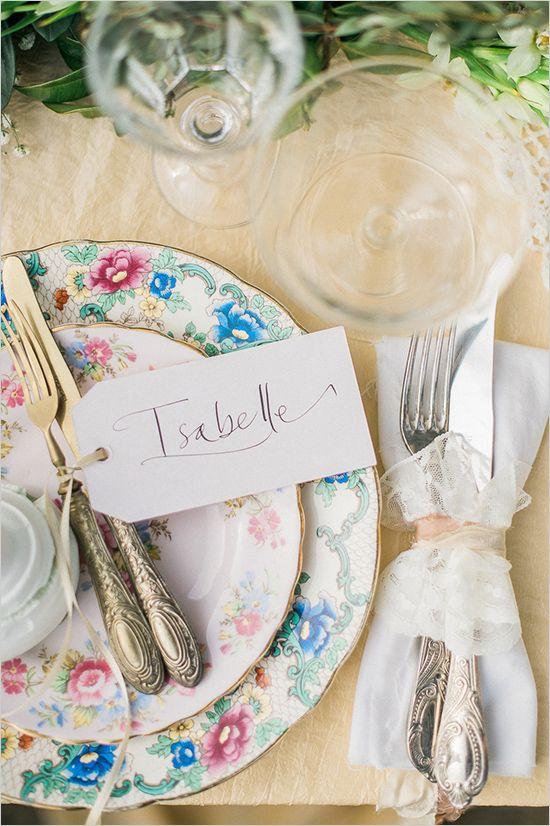 assiettes vintage mariage