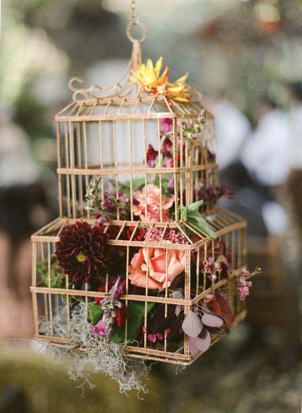 cage oiseaux mariage vintage