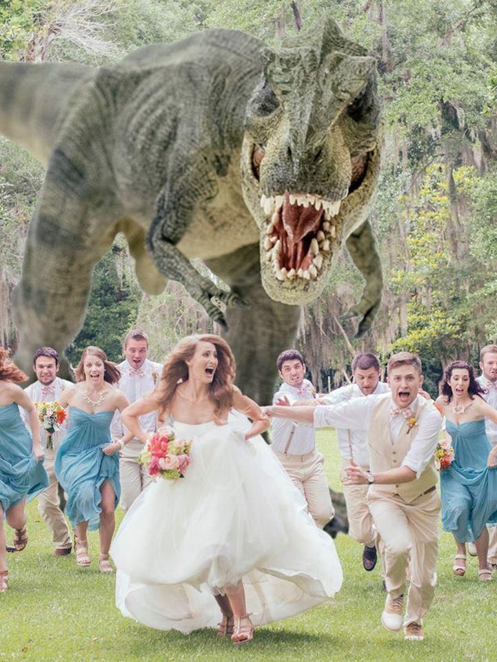 montage photo de mariage dinosaure