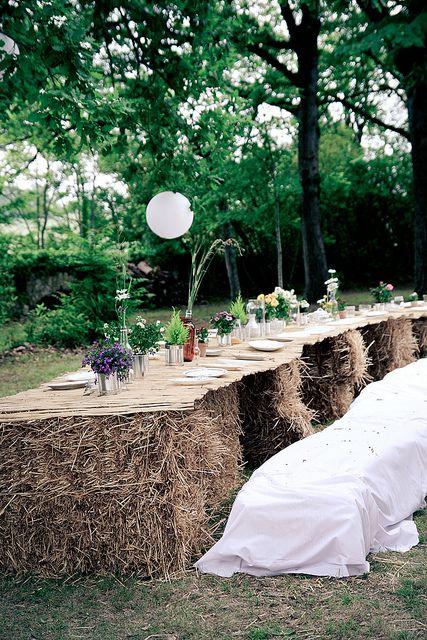 table paille mariage rustique