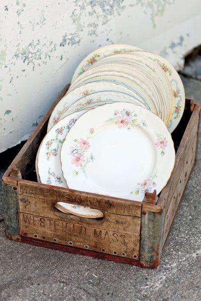 vieilles assiettes mariage vintage