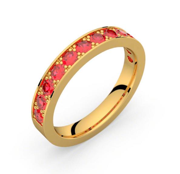 Dans la catégorie des anneaux, My Ring Factory nous impressionne également avec son alliance en or jaune sertie d'une multitude de rubis. Une vraie beauté pleine de vie à votre doigt pour vous accompagner dans toutes les démarches de la préparation de votre mariage.  Bague Auriga, MY RING FACTORY, 1305 €