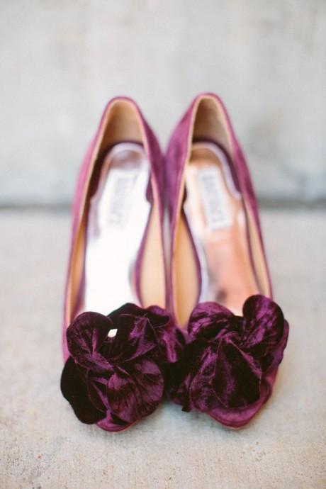 chaussures tenue de mariee prune