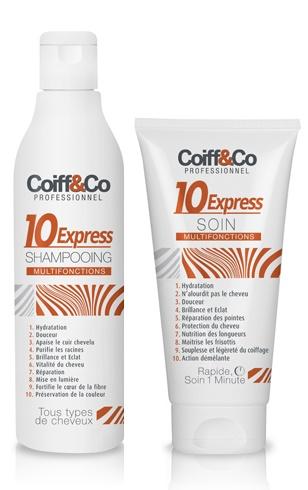 Shampooing 10 Express, 300 ml, 10,3 €. Soin 10 Express,150 ml, 14,2 €.