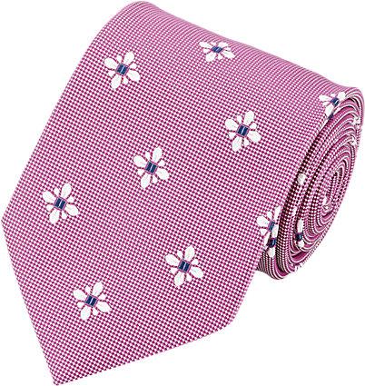 Fabriquée à la main, cette cravate Barneys est violette et blanche et est brodée de petites fleurs blanches et bleues. Idéale pour un costumes bleu marine.