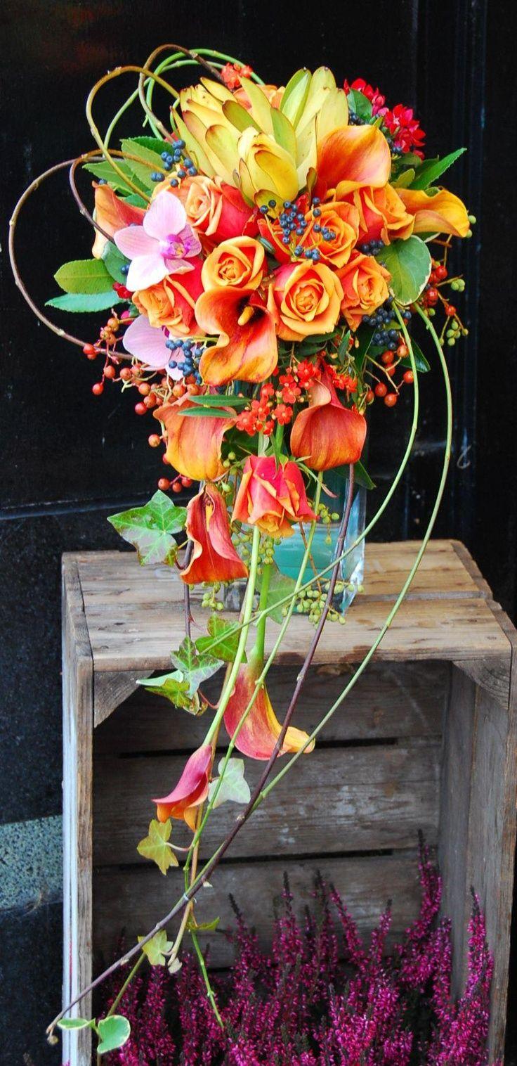 bouquet en  cascade colorés
