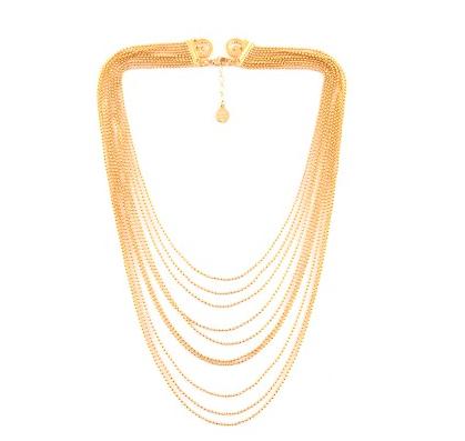 Soyez lumineuse avec ce sautoir à plusieurs rangées qui réveillera la plus belle des robes de mariée. Ajustable, il peut se porter de plusieurs façon et sera très chic porté dans le dos.  Collier en métal doré à l'or fin, Gas Bijoux, 130 euros.