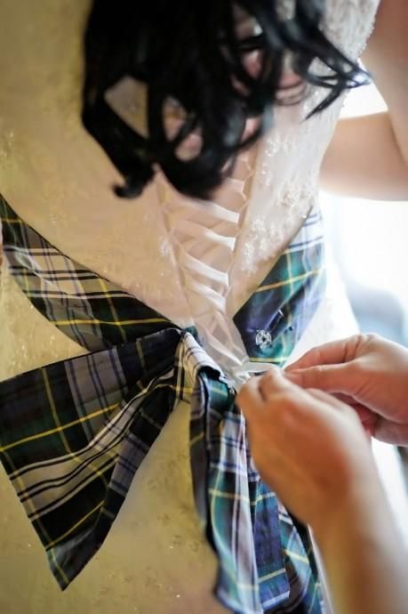 detail robe mariage ecossais