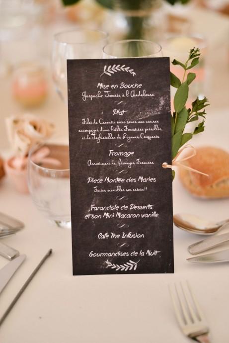 menu mariage romantique et chic aurelie et fred