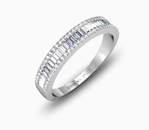 Des diamants baguettes et ronds d'une pureté éblouissante sont sertis sur ce bel anneau en or blanc. On sait maintenant qu'on a pas besoin d'un compagnon pour tomber amoureuse.
