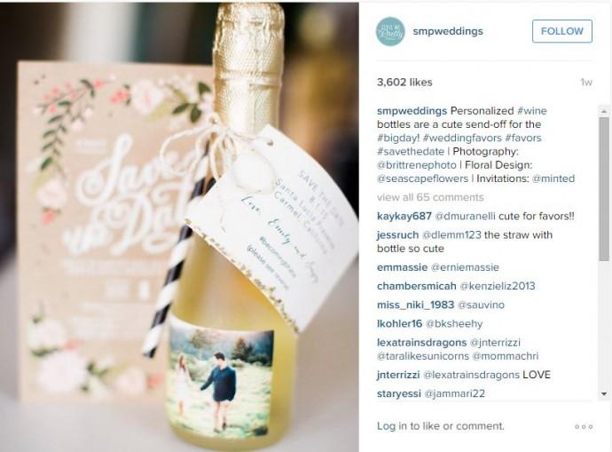 Alors là c'est LE cadeau ! Une bouteille de champagne personnalisée avec une jolie photo de vous deux, qui ravira vos invités.