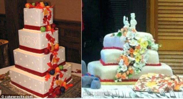 Une pièce montée haute et très belle composée de rubans et d'une cascade de fruits est devenue un gâteau raplaplapla et tordu avec une petite cascade de fleurs.