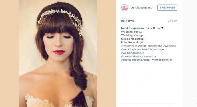 Pour toutes les mariées à frange, optez pour une tresse épi et un joli headband.