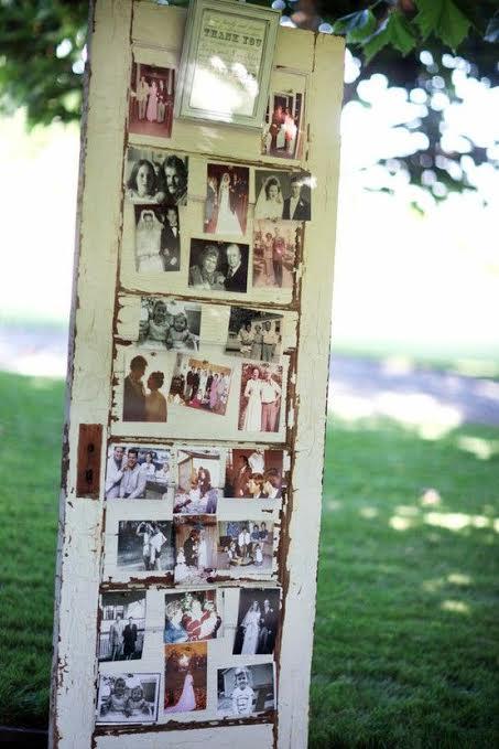 Une vieille porte pour y mettre tout un tas de photos souvenirs, c'est plutôt sympa !