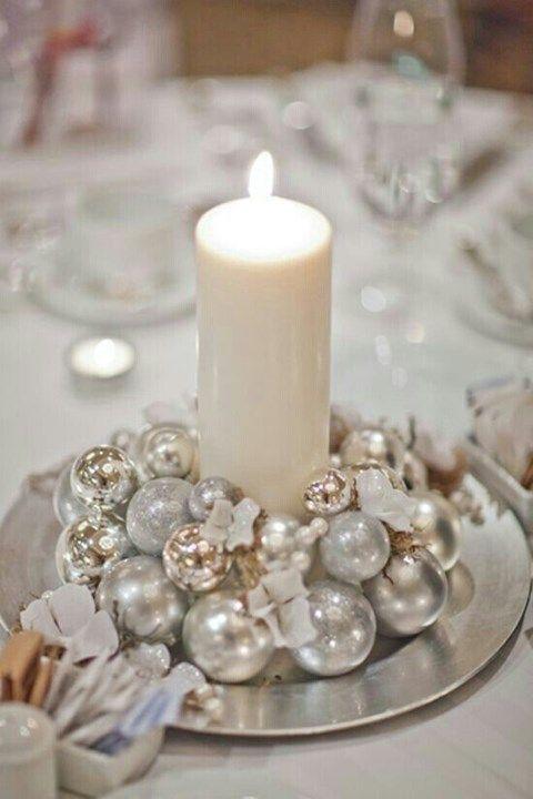En centre de table, ou simple décoration, cette bougie accompagnée de boules de votre sapin vous entraînera dans l'esprit de Noël.