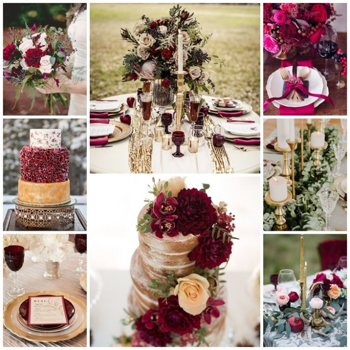 decoration marsala et or mariage