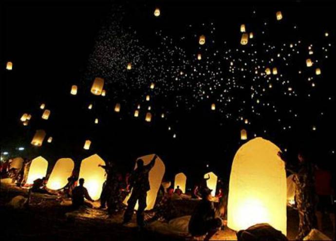 lacher de lanternes