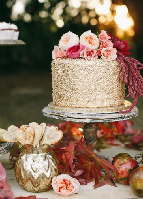 gateau or pour un mariage