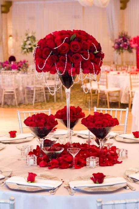 decoration mariage table rouge
