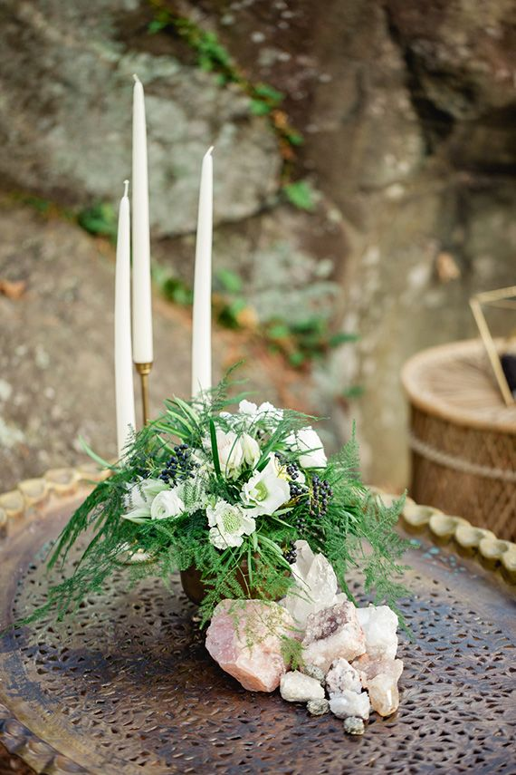 bougies et pierres precieuses