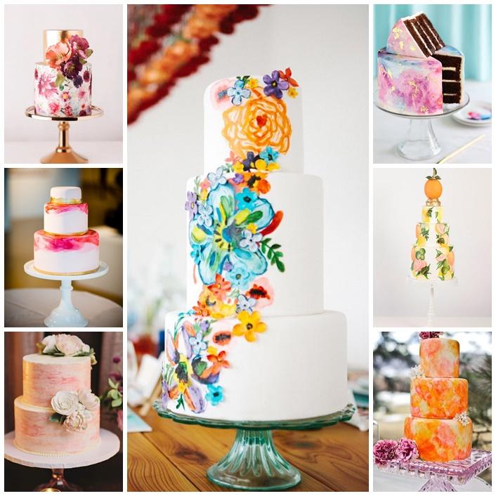 hand painted cakes pour un mariage