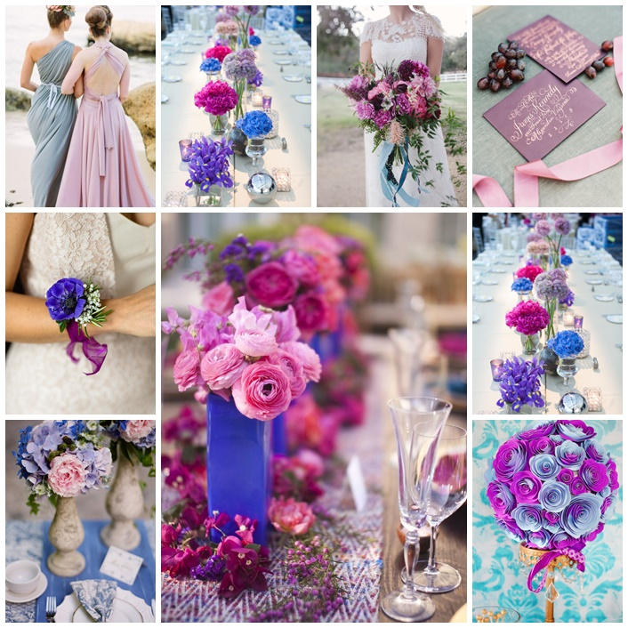 mariage en bleu et violet