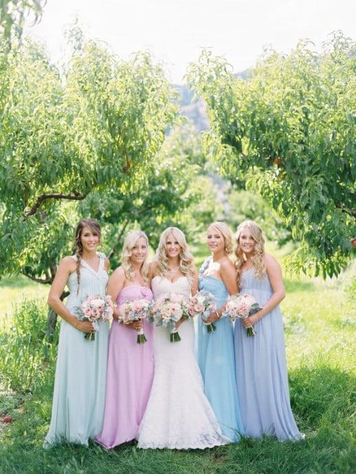 demoiselles honneur ton pastel mariage