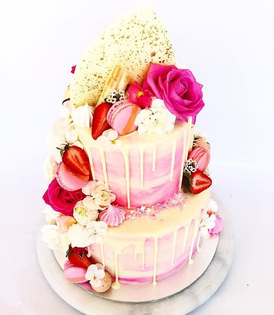 drip cake macaron vanille