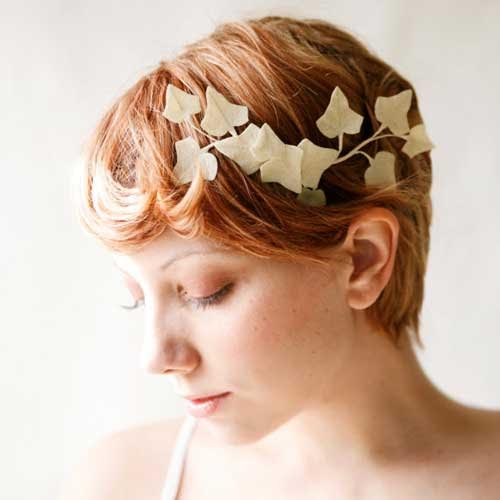 headband feuilles blanc cheveux courts